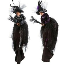 3752968 RAZ Set/2 Flying Witch on Broom Halloween Purple Black Hat Dress Feather