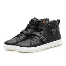Punk Mens Casual Pu Leather Ankle Boots High Top Buckle Flat Sneakers Shoes