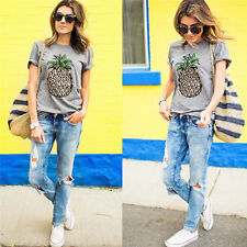 Womens Pineapple Printed T-Shirt Top Short Sleeve Casual Tee Round Collar Blouse