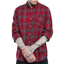 Mens Plaids Check Casual Shirts Button Front Slim Fitted Long Sleeve Shirt M-XXL