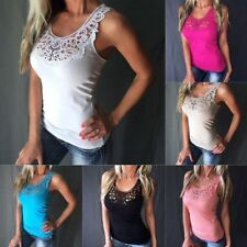 Women Summer Vest Top Sleeveless Blouse Casual Tank Tops Shirt Lace NEW