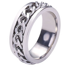 Men's Silver/Black/Gold Rotatable Chain Stainless Steel Wedding Band Sz6-12 Ring