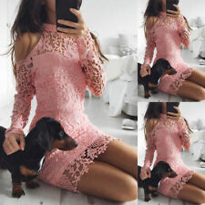 Sexy Women Long Sleeve Lace Bodycon Dress Ladies Evening Party Mini Skater Dress