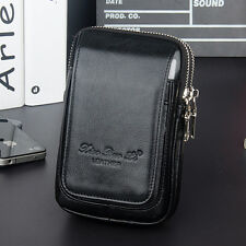 Men Genuine Leather Cell Mobile Phone Case Cigarette Bag Purse Fanny Waist Pack