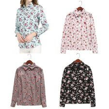 Floral Print Blouses Shirts Vintage Turn-Down Collar Tops Long Sleeve Blouse new