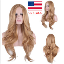 Womens Light Brown Long Wavy Wig Halloween Cosplay Full Wig Synthetic Curly Hair