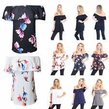 WOMENS SLEEVELESS OFF SHOULDER PLAIN BARDOT FLORAL PRINT LADIES TOP PLUS SIZE
