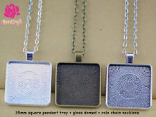30mm Square Pendant Tray Blank Pendant Setting+Rolo Chain Necklace+Glass Domed