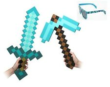 (3 Count) Large Blue Diamond Sword Pickaxe EVA  Foam  and  8 bit Blue Sunglasses