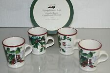NEW in BOX Williams Sonoma 4 Vintage Postcard Mugs Christmas Holly Berries