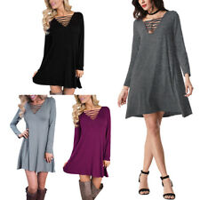 Women Casual Loose Mini Lace-up Plunge Plunge V Neck Dress Tops Blouse Shirt Tee