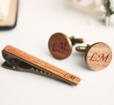 Custom Tie Clip and Cuff Links Cufflinks for Groom personalized gift set tie bar