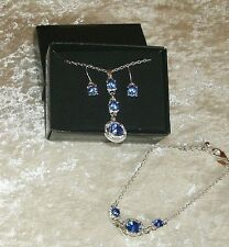 Blue Necklace & Earrings & Bracelet  3-Piece Set Shimmer Tier Avon Boxed