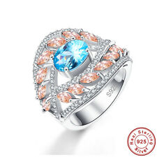 Marquise&Oval Cut Swiss Blue Topaz Morganite 925 Sterling Silver Ring Sz 6 7 8 9