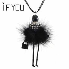 Doll Necklace Long Chain Pendant Rhinestone Necklaces Women Crystal Bag