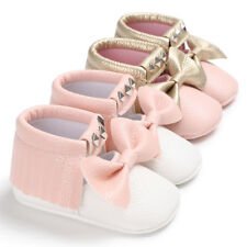 Toddler Baby Girl Crib Shoes Infant Bowknot Soft Sole Prewalker Sneakers Boots