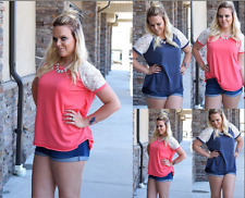 Womens Ladies Short Sleeve Lace Loose T-Shirt Summer Casual Blouse Top Plus Size