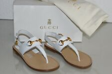 $325 NEW GUCCI Kids Girls Sandals White Leather Gold Horsebit Shoes 29