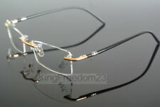 Spring Hinges Memory Titanium Rimless Eyeglass Frames Glasses Rx able Spectacles