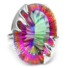 8.9CT Mystic Rainbow Topaz 925 Silver Party Wedding Engagement Ring Size 6-10
