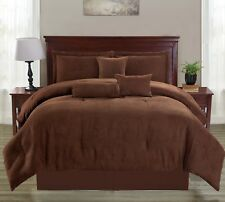 Suede Brown Soft Solid 7 Piece Comforter Set Bed In A Bag - ALL Sizes