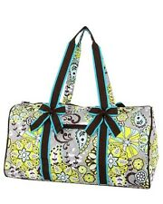 Personalized Quilted Paisley & Floral Print with Brown Accents Duffle Bag gre...
