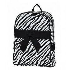Personalized Black-White Quilted Zebra Medium School Zipped Backpack Bag FREE...