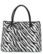 Personalized Fuchsia & White Zebra Print Quilted Large Travel Gym Sports Tote...