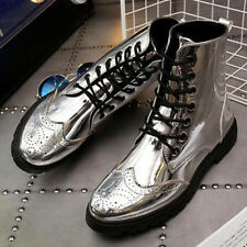 British mens Wing tip Brogue shoes High top metal Rock punk Fashion Ankle boots