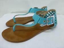 STEVE MADDEN Suttle turquoise thongs sandals ankle t strap flats shoes women 8 M