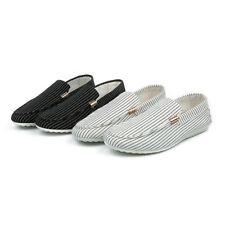 Men Fashion Moccasins Flat Heels Loafers Driving Shoes Canvas Striped Shoes Size