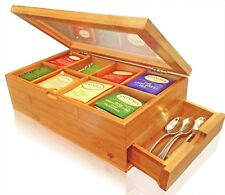 SOLID 100% BAMBOO Tea Box Natural Chest With Clear Hinged Lid, 8 Storage With