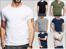 Mens V Neck Crew Neck Short Sleeve Slim Fit Cotton T-Shirt Casual Basic Tee Tops