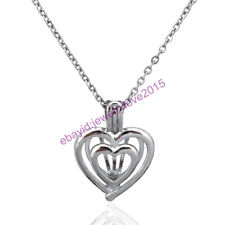 HY-K81 Silver Girl 22mm Heart Love Oyster Pearl Bead Cage Locket Fit 5mm - 6mm