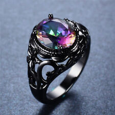 925 Silver Black Gold Rainbow Topaz Elegant Fashion Ring Wedding Jewelry Sz 6-10