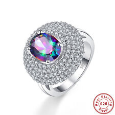Noble Oval Cut Rainbow & White Topaz 100% 925 Sterling Silver Ring Size 6 7 8 9