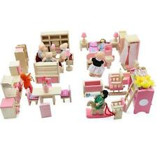 Dolls House Furniture Wooden Set People Dolls Toys For Kids Children Gift New OE