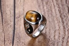 YinYang Oval Natural Stone Tigers Eye Stainless Steel Elegant Silver Gothic Ring