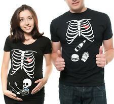 Pregnancy Funny X-ray Couple T shirts Skeleton Boy Couples Halloween Costume
