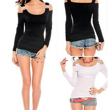 Women's Sexy Cut Out Off Shoulder Slim Long Sleeve Strap Top Shirt Blouse