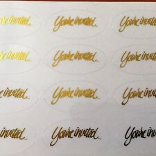 96-Oval Shape Wedding Party Anniversary Envelope Stickers Seals You're Invited