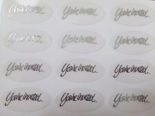 """60-Silver or Gold Oval Shape Wedding Envelope Stickers Seals:""""You're Invited"""""""