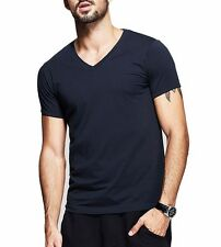 6 Colors Mens T-Shirt Cotton High Elasticity V-Neck Slim Fitted Basic Tee S-XXL