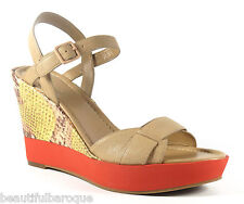 Cole Haan Paley High Wedge Sand Lemon Snake Embossed Leather Sandal NEW Size 8.5