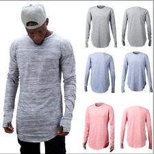 Mens Thumb Hole Long Sleeve Crew Neck Slim Fit Blouse Sports Solid Top Tee Shirt