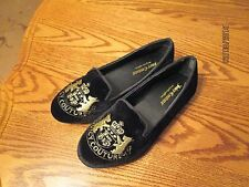Juicy Couture Gizelle Girls Flats Black W/ Gold Juicy Crown Logo Sz  2 3 NEW