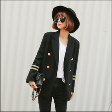 New British WomenLadies Lapel Double Breasted Suit Blazer College Outerwear COat