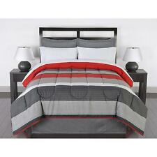 Striped Bedding Set Twin Comforter Sheets Pillow Cases Shams Bed Skirt Red Gray