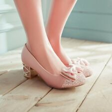 Lovely Womens Bridal or Wedding Bowknot Med Block Heels Classics Pumps Shoes
