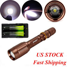 Tactical 12000LM 5-Mode XML T6 LED Flashlight Focus Torch&18650&Charger USA